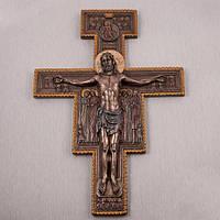 """""""Распятие Иисуса"""" из полистоуна с бронзовым напылением"""