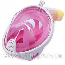 Полнолицевая панорамная маска для плавания UTM FREE BREATH (S/M) Розовая с креплением для камеры, фото 2