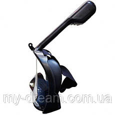 Полнолицевая панорамная маска для плавания UTM FREE BREATH (L/XL) Черная с креплением для камеры, фото 2