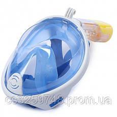 Полнолицевая панорамная маска для плавания UTM FREE BREATH (L/XL) Голубая с креплением для камеры, фото 3