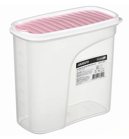 Контейнер для сыпучих Ardesto Fresh 1.8 л Прозрачный пластик / Розовый (AR1218PP), фото 2
