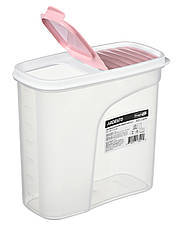 Контейнер для сыпучих Ardesto Fresh 1.8 л Прозрачный пластик / Розовый (AR1218PP), фото 3