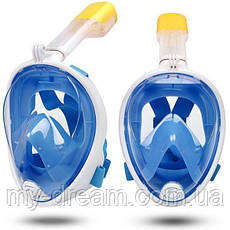 Полнолицевая панорамная маска для плавания UTM FREE BREATH (S/M) Голубая с креплением для камеры, фото 3