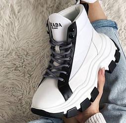 Высокие женские ботинки Prada Milano Block White Black на платформе кожаные 36-44рр. Живое фото. Люкс реплика