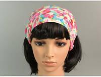 Повязка для волос розовая с цветным рисунком