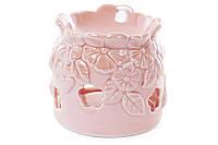 Арома-лампа фарфоровая с объемным декором Незабудки, 10.5см, цвет - розовый перламутр BonaDi 727-130