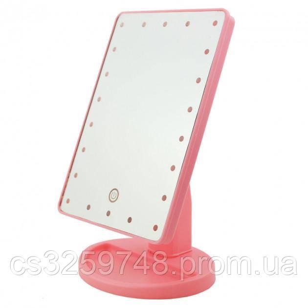 Сенсорное настольное зеркало для макияжа UTM Magic Makeup с LED подсветкой Pink
