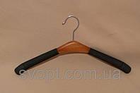Вешалка поролон с деревянной вставкой женская, тёмная, фото 1