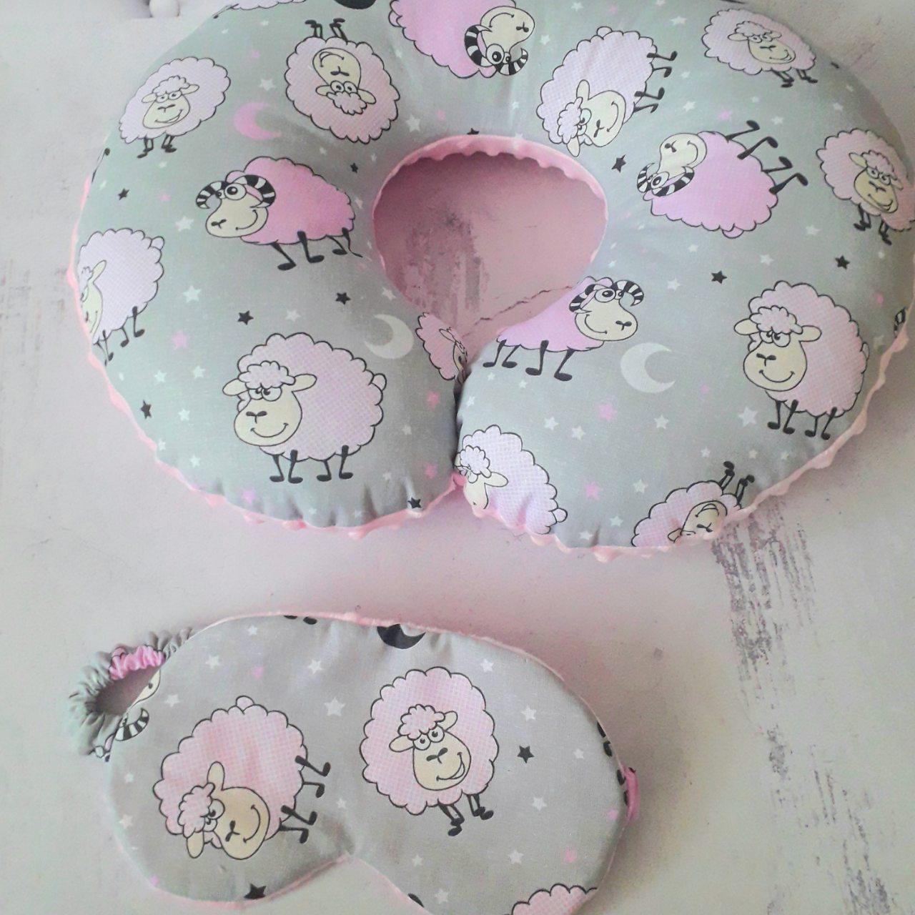 Набор подушка для путешествий + маска для сна Овечки