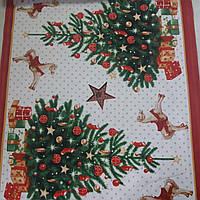 Скатертная ткань с новогодними елками и лошадками, ширина 50 см