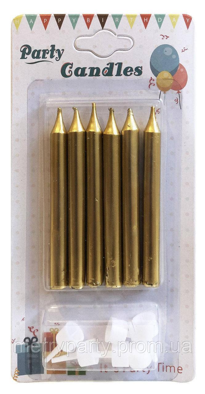 6 шт./упак. 8 см Набор свечей золотистые с подставками