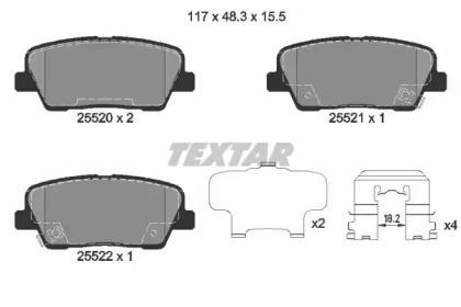 Комплект тормозных колодок, дисковый тормоз 2552001 TEXTAR