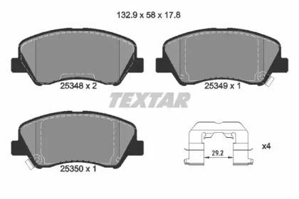 Комплект тормозных колодок, дисковый тормоз 2534801 TEXTAR