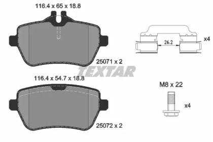 Комплект тормозных колодок, дисковый тормоз 2507101 TEXTAR