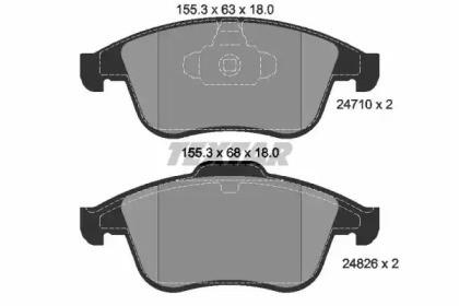 Комплект тормозных колодок, дисковый тормоз 2471001 TEXTAR