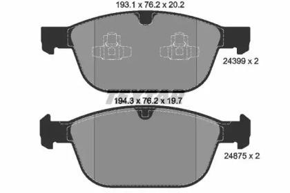 Комплект тормозных колодок, дисковый тормоз 2439901 TEXTAR