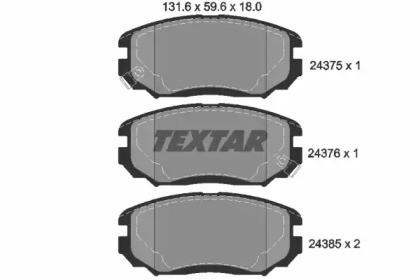 Комплект тормозных колодок, дисковый тормоз 2437501 TEXTAR