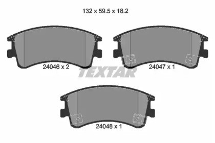 Комплект тормозных колодок, дисковый тормоз 2404601 TEXTAR