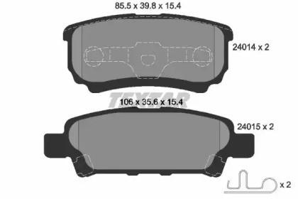 Комплект тормозных колодок, дисковый тормоз 2401401 TEXTAR