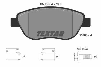 Комплект тормозных колодок, дисковый тормоз 2370803 TEXTAR