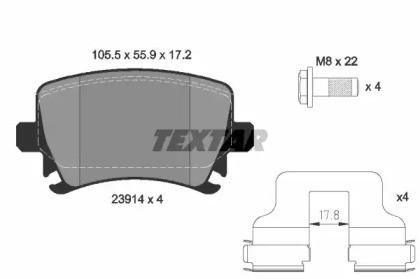 Комплект тормозных колодок, дисковый тормоз 2391401 TEXTAR