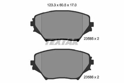 Комплект тормозных колодок, дисковый тормоз 2358501 TEXTAR