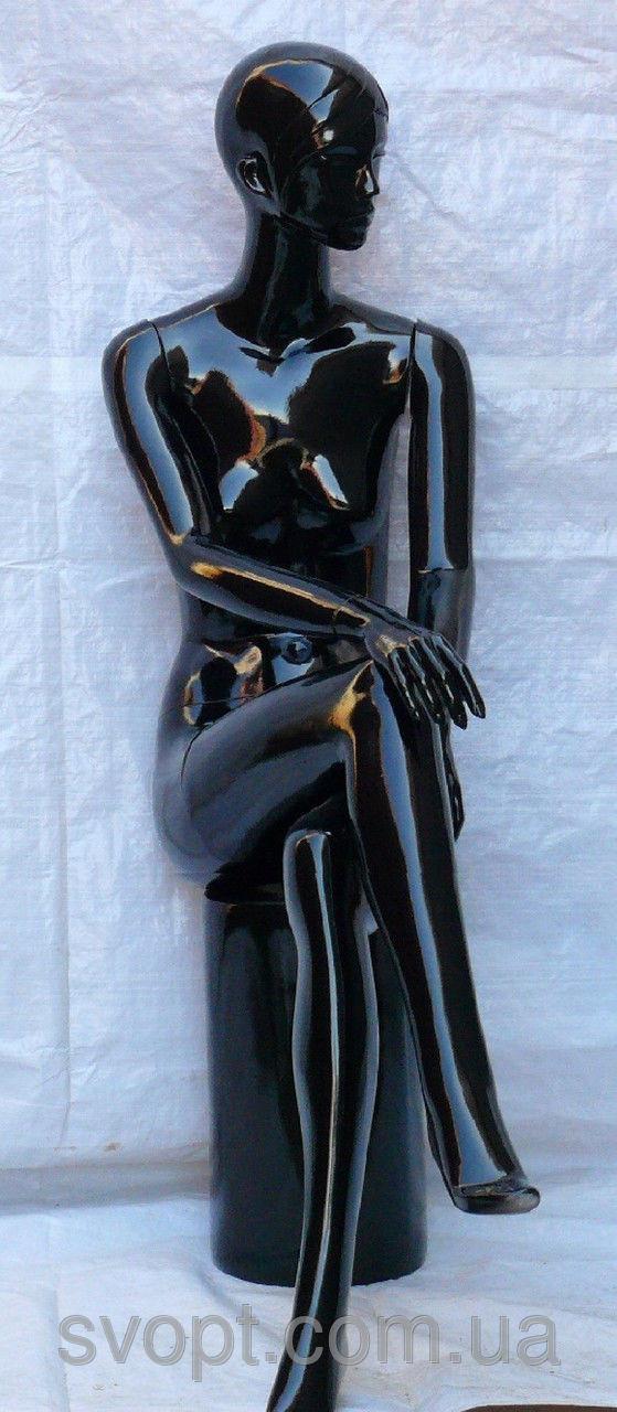 Манекен женский сидячий Графитовый  глянец