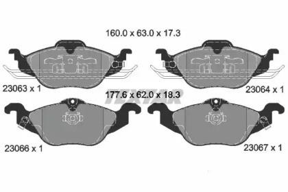 Комплект тормозных колодок, дисковый тормоз 2306302 TEXTAR