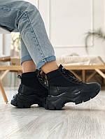 Женские кроссовки Prada Milano Sneakers Block Triple Black, чёрные. Размеры (36,37,38,39,40,41,42,43,44)