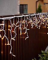 Гирлянда бахрома уличная 3x0,7м теплый белый 100 LED на белом проводе