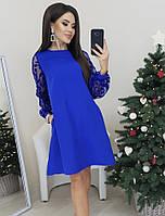 Платье свободного фасона с пышными рукавами из сетки