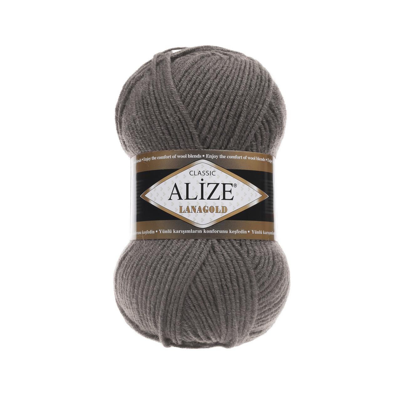 Пряжа для вязания Лана голд цвет 348 темно серый