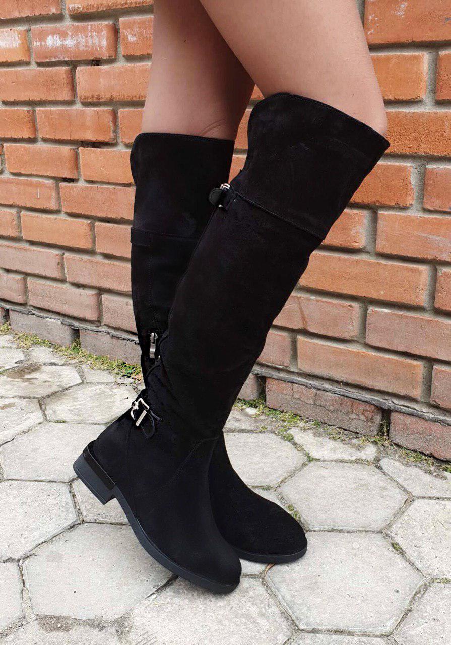 Сапоги женские зимние из натуральной замши Ботфорты замшевые (ЗИМА) на низком каблуке