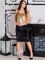Черная женская юбка из велюра