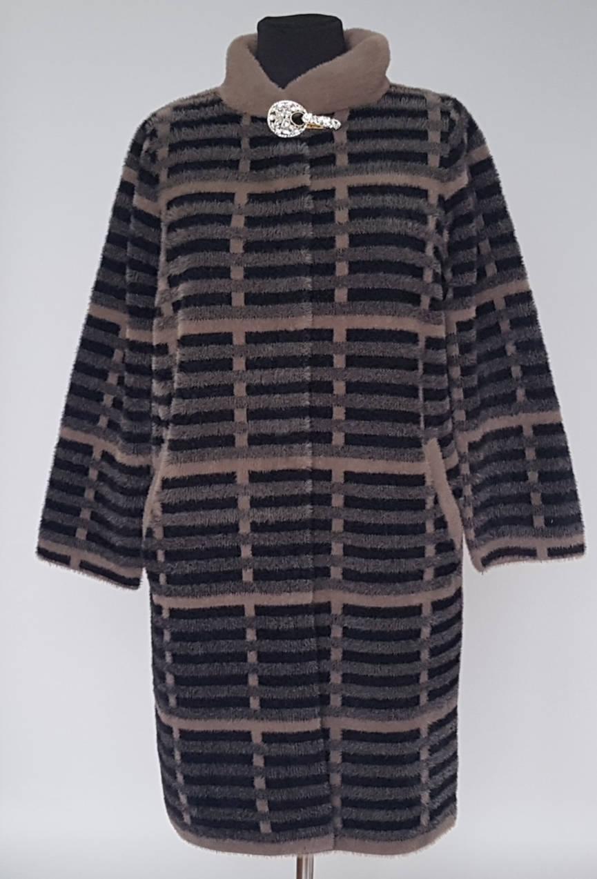 Меховое пальто Альпака большого размера на кнопках с воротником стойка