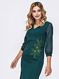 Сукня-футляр з коротким рукавом три чверті прикрашене флористичної нашивкою, фото 4