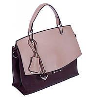 Женская сумка из натуральной кожи 1903 бордовый  пудровый.Кожаные женские сумки оптом в Украине., фото 1