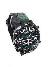 Часы мужские Pinbo Army на силиконовом ремешке. Зеленый темный
