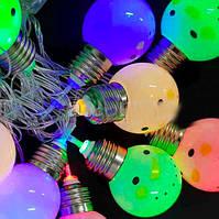 Гирлянда Снеговики разноцветные 12 LED лампочек Теплый Белый, 500 см, прозрачный провод, переходник (1698-19)