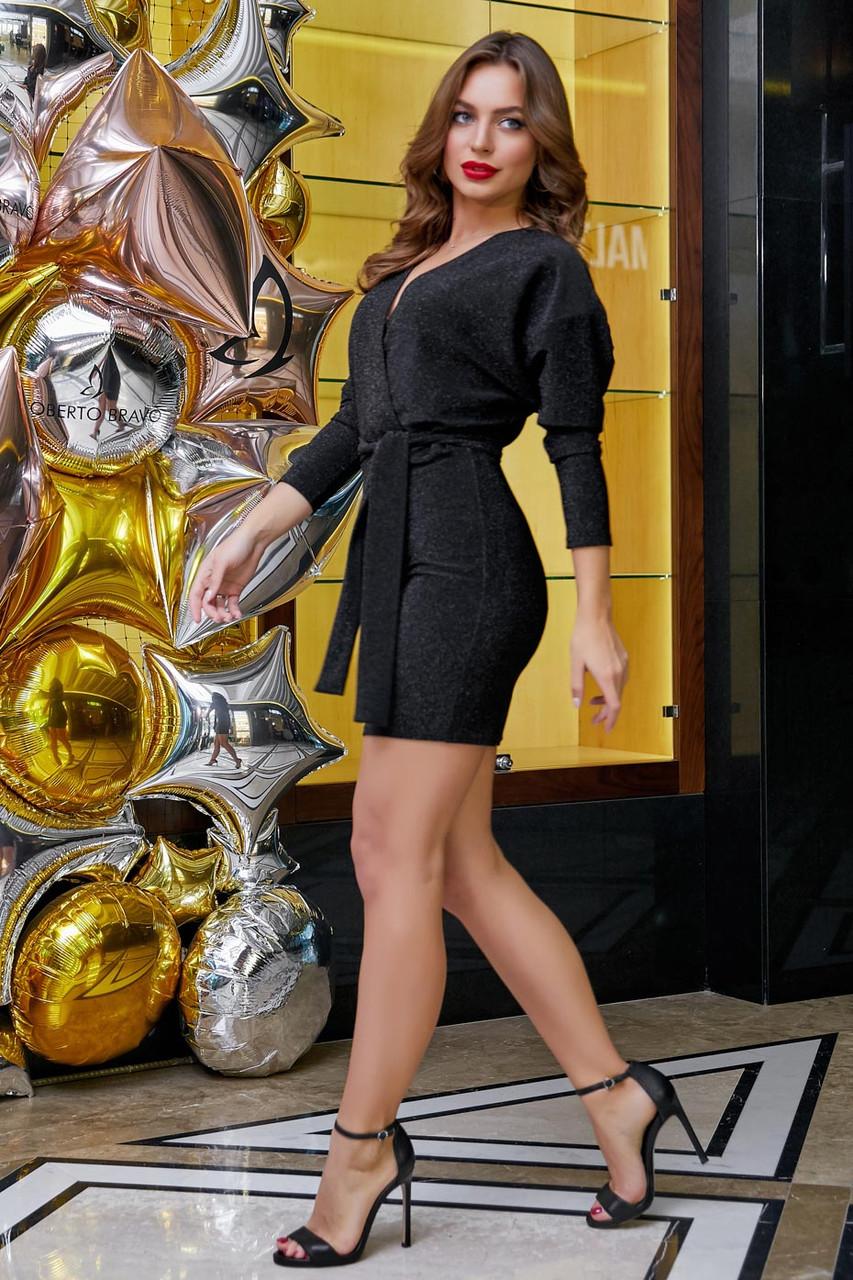 Кокетливое мини платье из трикотажа с люрексом 1266 (42–48р) в расцветках, фото 6