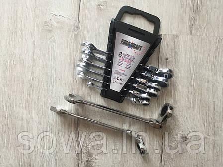 ✔️ Набір рожково-накидних ключів з тріскачкою - Euro Сraft 8 шт, фото 2