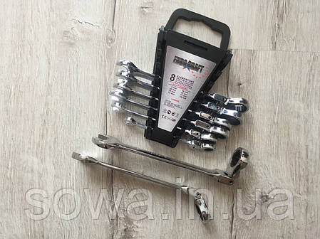 ✔️ Набор рожково-накидных ключей с трещоткой  - Euro Сraft  8 шт, фото 2
