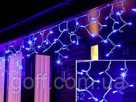 Гирлянда уличная бахрома 3x0,7м синий 100 LED на белом проводе