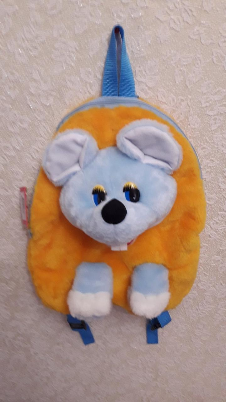 Дитячий рюкзак - м'яка іграшка Мишка 32см блакитна