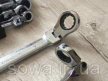 ✔️ Набор рожково накидных ключей с трещоткой на кардане Euro craft 8 шт ( 8-19мм ), фото 3