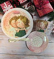 """Фарфоровая чайная пара """"Счастье в каждом мгновении"""" 220 мл от Гапчинской 924-071"""