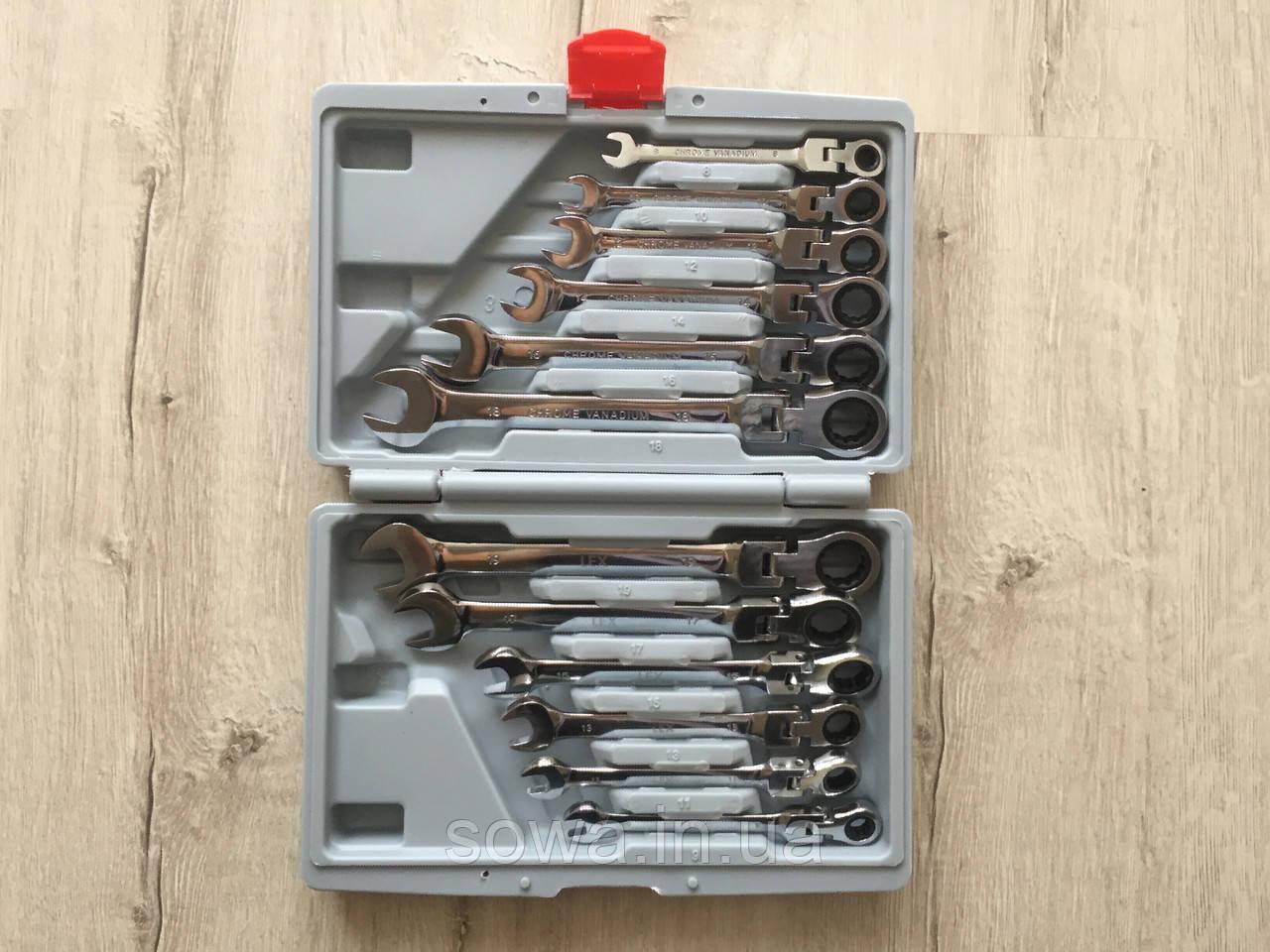 ✔️ Набір рожково-накидних ключів з тріскачкою на кардане 12 шт LEX 1578