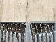 ✔️ Набор рожково-накидных ключей с трещоткой на кардане 12 шт LEX 1578, фото 2