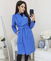 Женское кашемировое пальто с брошью