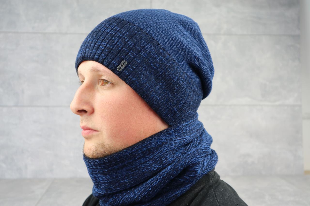 Вязаный мужской баф ShaDo 30 Синий